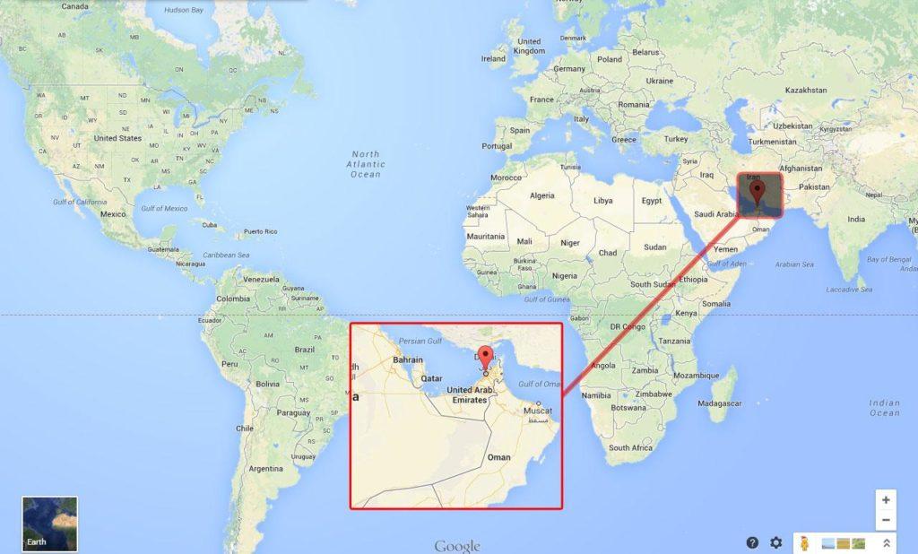 Carte du monde qui situe Dubai